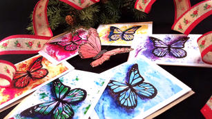 Rainbow Butterfly Card Set (6) - Blank Inside