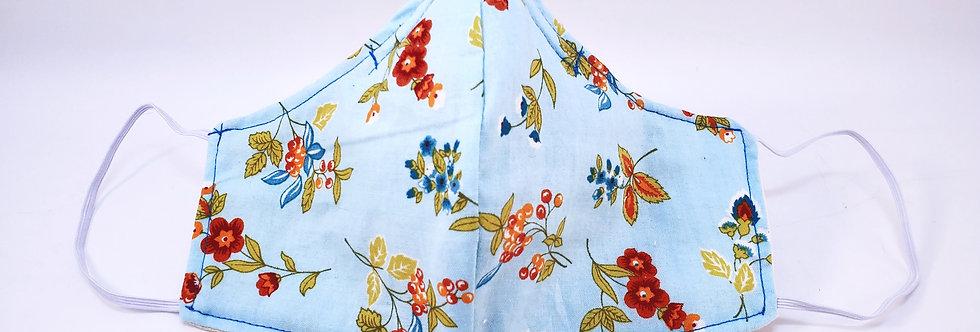 Mask, Sky Blue Floral Face Mask, Reusable/Washable, Cotton, Filter Pocket
