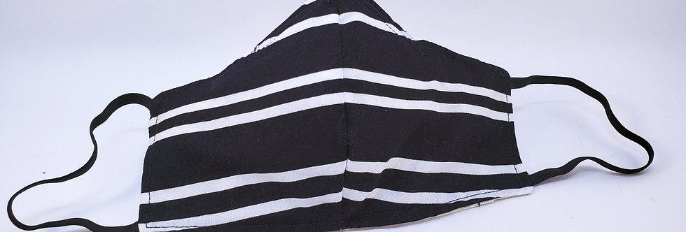 Mask, Black & White Horizontal Line Face Mask, Reusable/Washable, Cotton