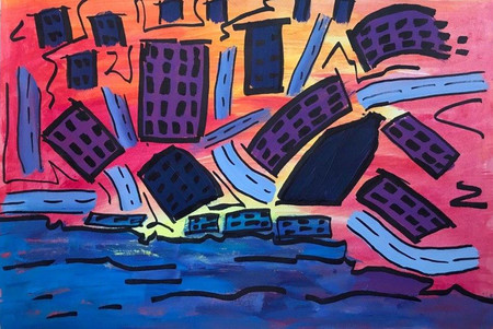 City Landscape. 2020. Acrylic On Paper. Felt-Tip. 27x39 cm.