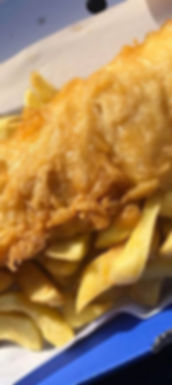 fish and chips in a box served by Alma Park Fish Bar
