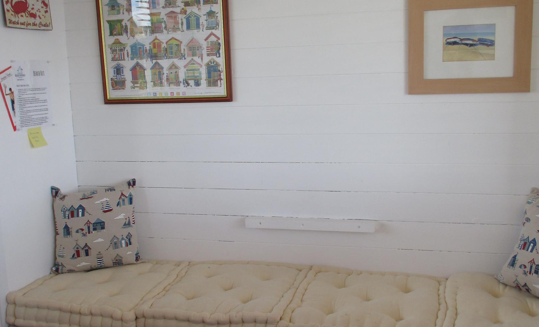 Inside our beach hut