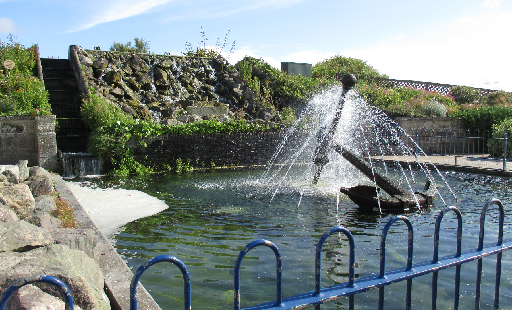 Waterfall and fountain in the pleasure gardens
