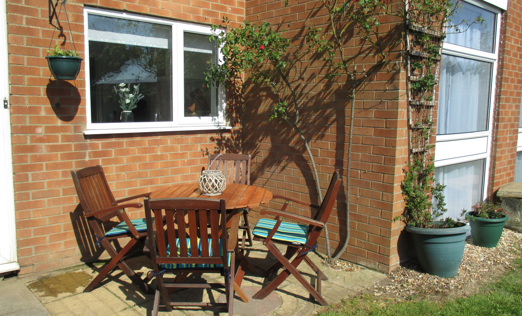 Patio area with table and chairs