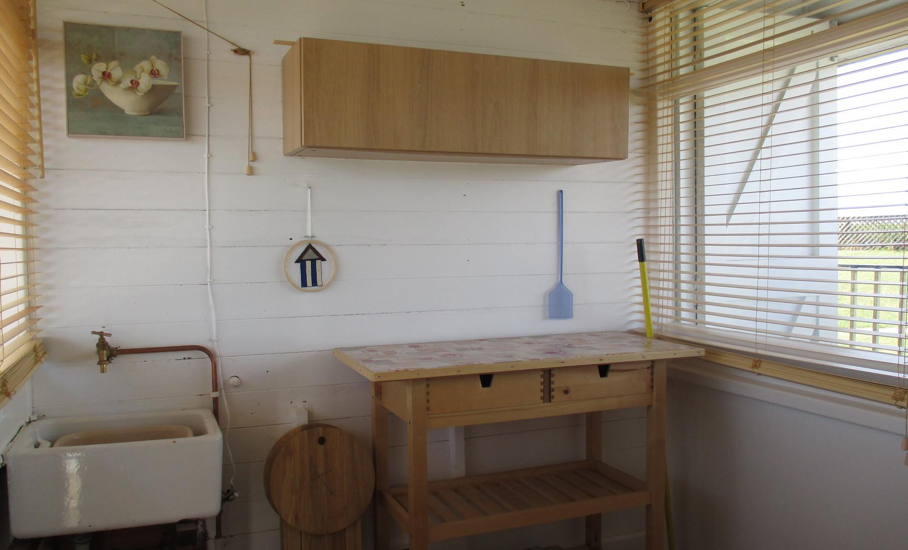 Inside our beach hut it has running water