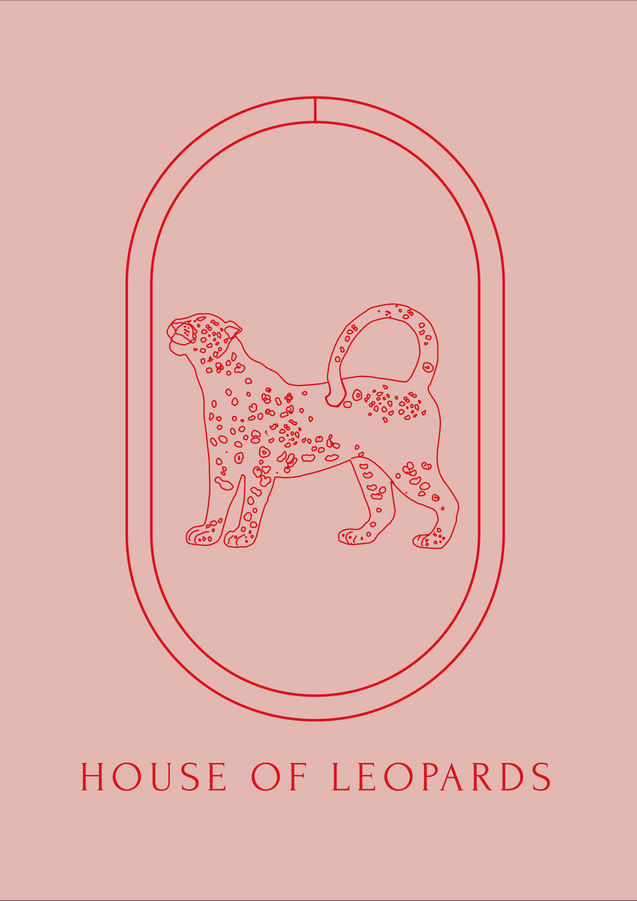 Red logo of House of Leopards on a pink background