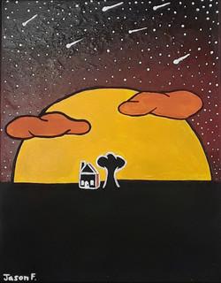 Shouting Stars (2021; acrylic paint)