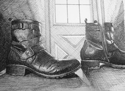 Working Boots (2021; pen, ink)