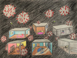 The six rooms of the pandemic (2021; colored pencils, sharpie)