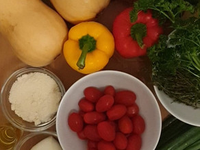 Butternusskürbis mit Gemüsefüllung