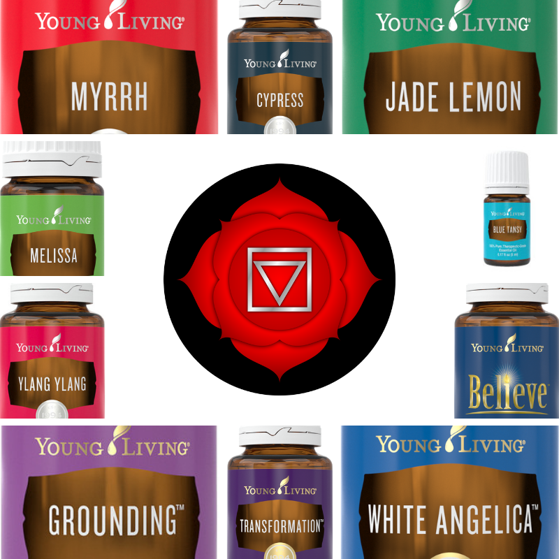 image of root chakra and essential oils
