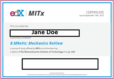 edx certificate sample