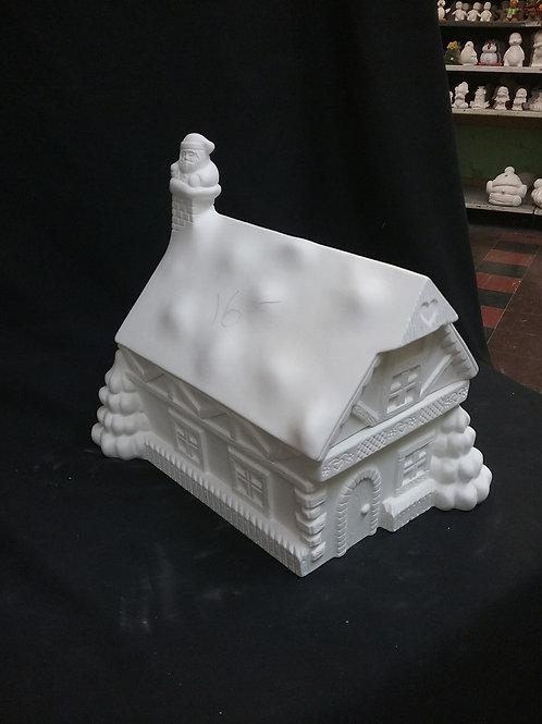 Large Santa's house cookie jar