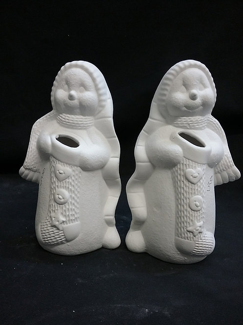 Snowman with stockings set of 2