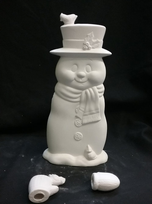 Snowman holds candy canes