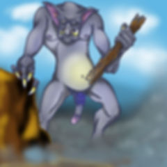 Nude male troll showing penis