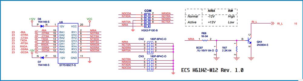 Esquema elétrico da porta serial da placa-mãe ECS H61H2-M12 Rev. 1.0