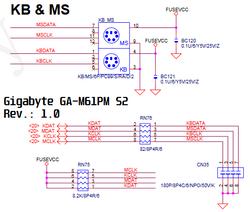 Circuito PS/2 - GBT GA M61PM S2