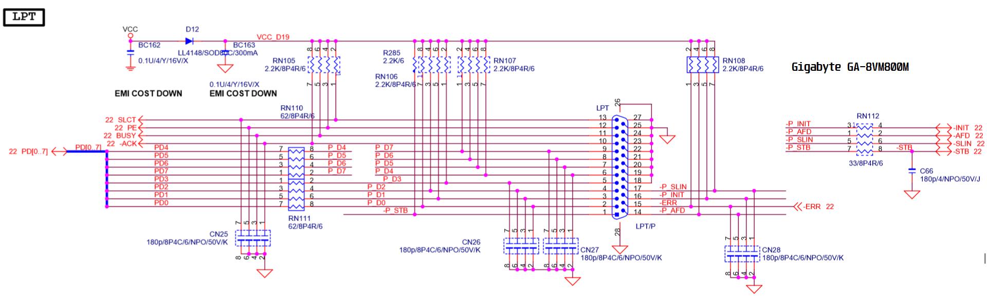 Circuito porta LPT - GA 8VM800M