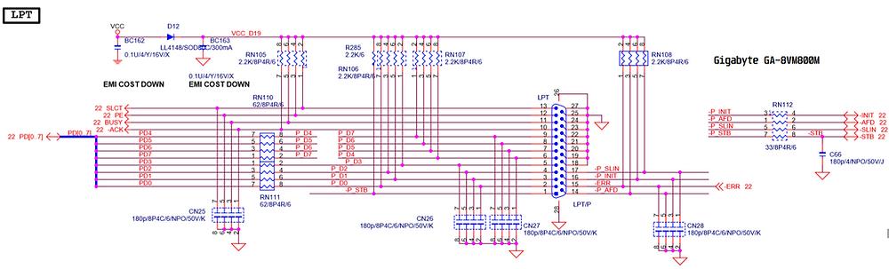 Esquema elétrico da placa-mãe GBT GA-8VM800M