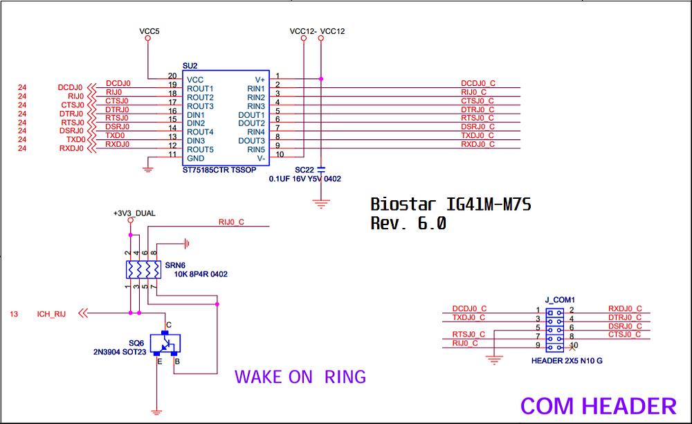 Esquema elétrico da porta serial da placa-mãe Biostar IG41M-M7S Rev. 6.0