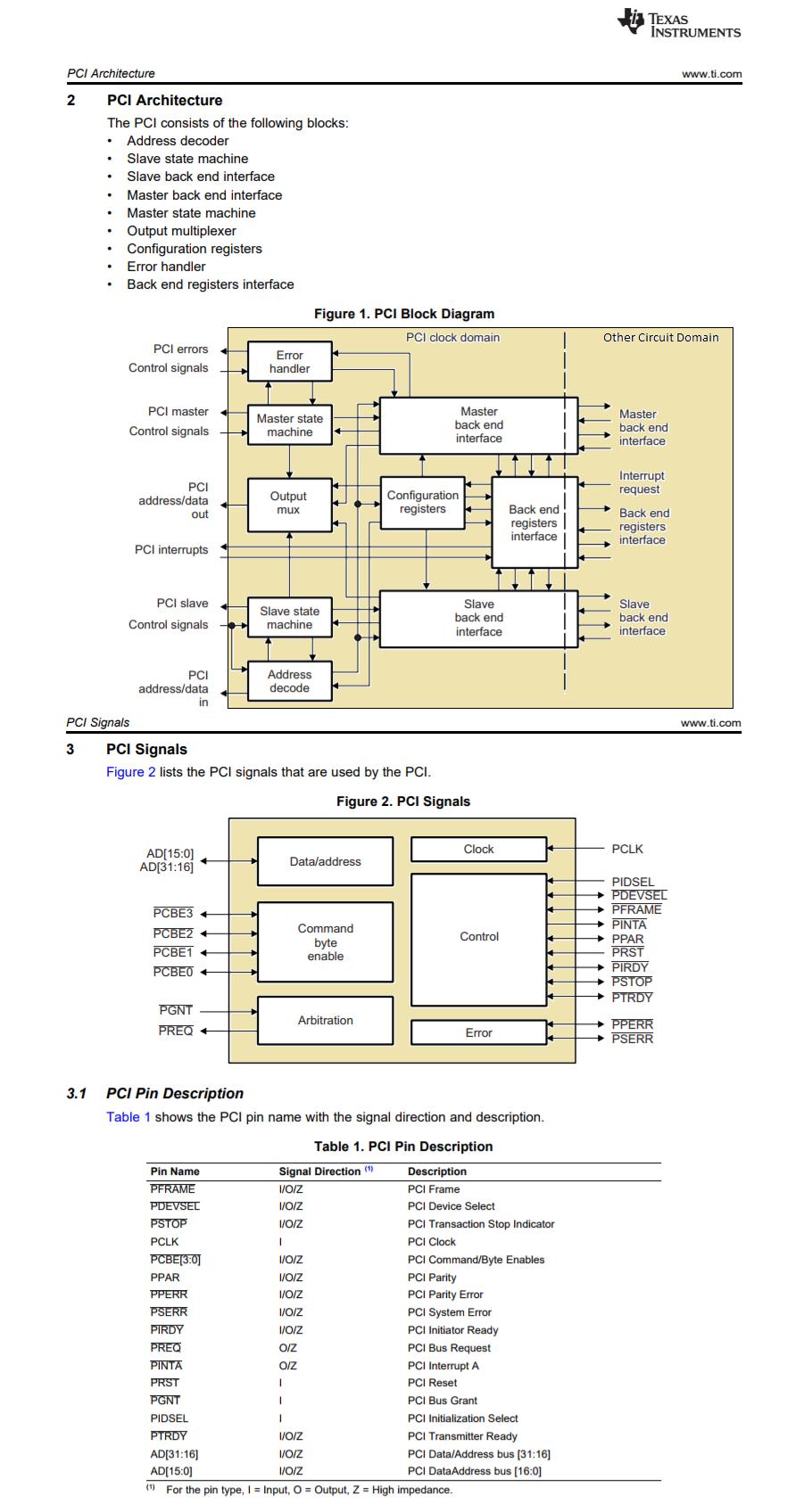Diagrama de blocos do controlador PCI