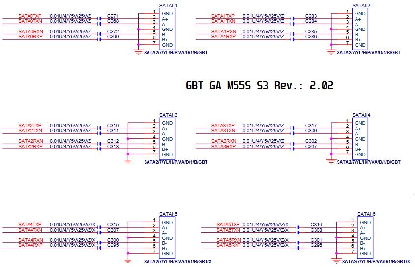Esquema elétrico da GBT GA-M55S S3 Rev.: 2.02