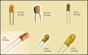 Alguns modelos de capacitores de tântalo