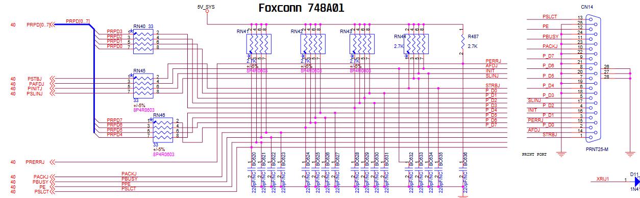 Circuito porta LPT - Foxconn 748A01