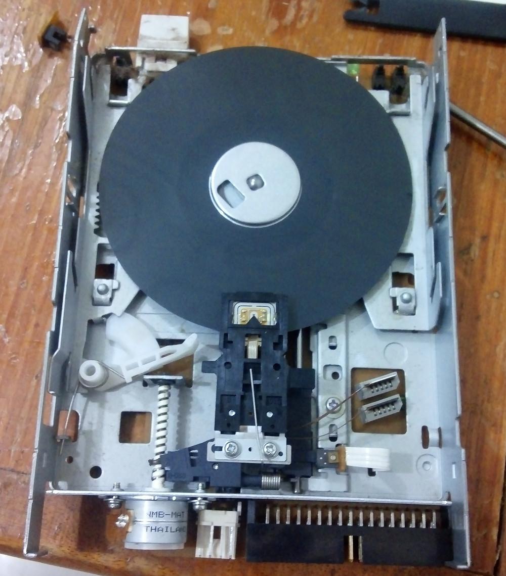 Leitor de disquete e disquete desmontado