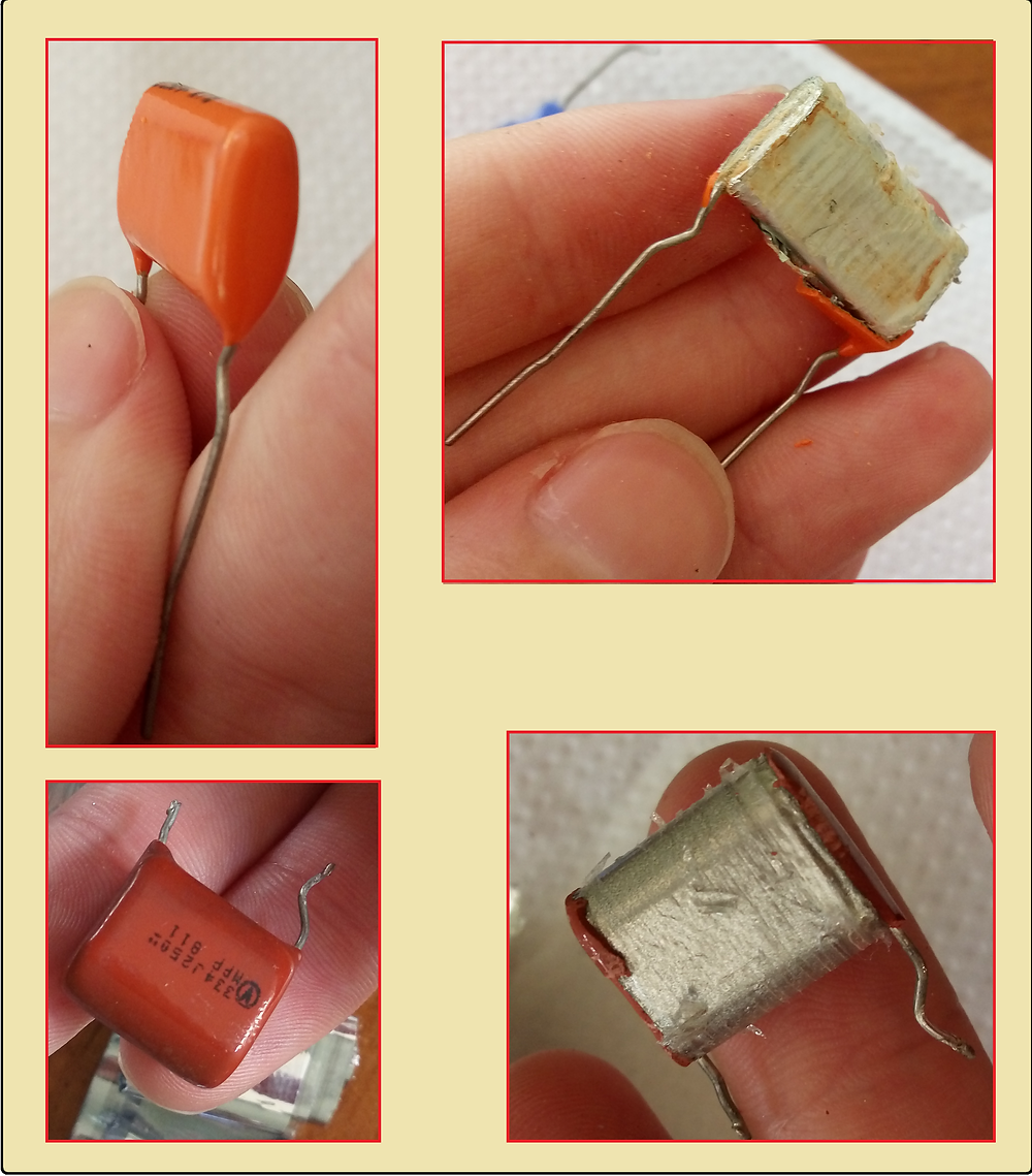 Capacitores plásticos desmontados