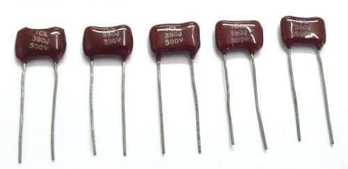 Capacitores de mica de 390 pF por 500 Volts