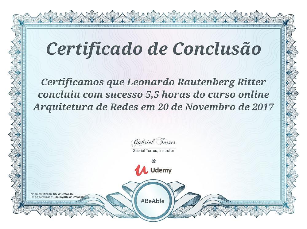 Certificado do curso de Arquitetura de Redes