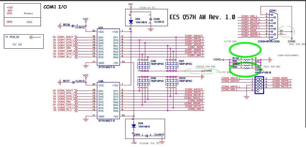 Esquema elétrico da porta serial da placa-mãe ECS Q57H AM Rev. 1.0