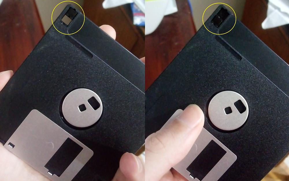 A proteção contra gravação do disquete