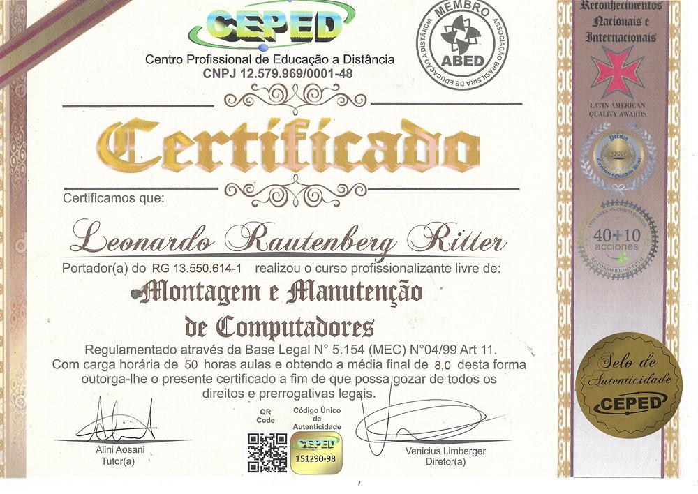 Certificado do curso de montagem e manutenção de computadores do Ceped Cursos
