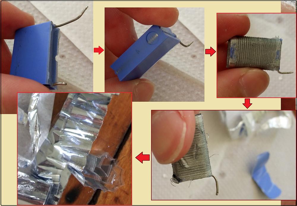 Capacitor plástico desmontado
