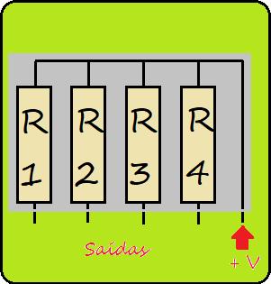 Barra de resistores por dentro