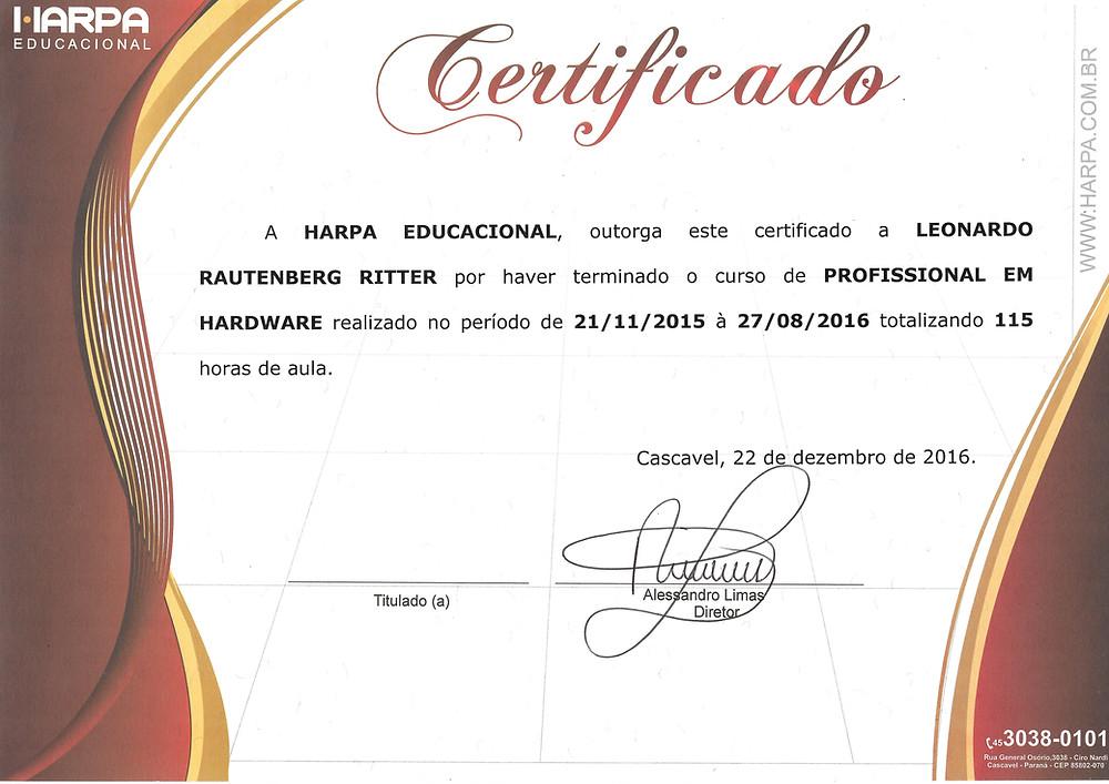 Certificado do curso de Hardware na Harpa Educacional