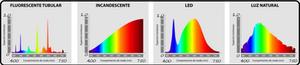 Espectro de cores de alguns tipos de lâmpadas