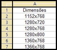 Variações do padrão WXGA