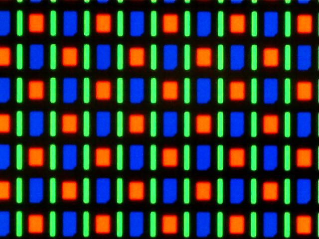 Filtros de cores de uma tela AMOLED vista no microscópio