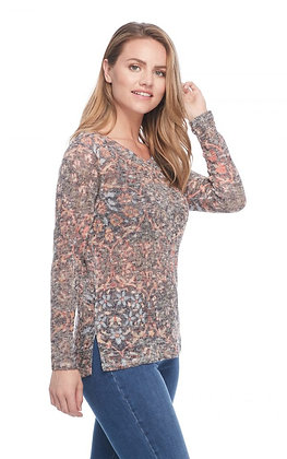 FDJ - ART NOUVEAU PRINT V NECK TOP