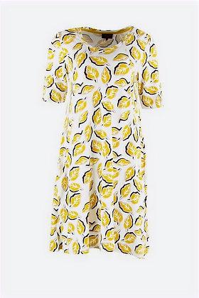 Zilch - V Neck Dress - Pattern Honey/Leaves