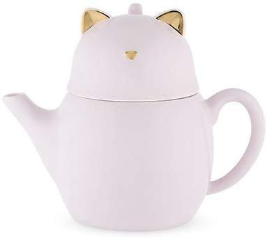 Pinky up - Purrrcy Cat 2 Piece Ceramic Tea Set - Blush