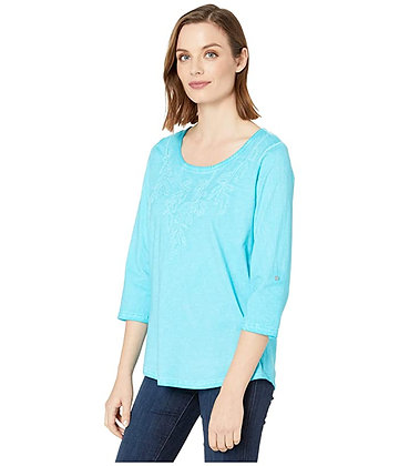 FDJ-Azure Embroidered Tab Up Sleeve Top