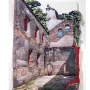 Convento Sao Bernardino de Sena - 2017 Técnica mista - Impressão fotográfica em tecido, brim de algodão, manta acrílica, tela de aço, tinta acrílica, costurados em tela sobre chassi. 179 x 125 x 13 cm.