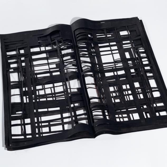 Caderno de Domingo  da série 'Fragmentos de um discurso cotidiano', 2017. Páginas de jornal vazadas, pintadas de preto e sobrepostas  60 x 65 cm