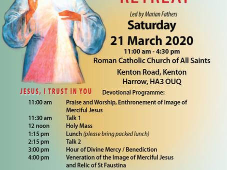 Divine Mercy Retreat  21 March 2020