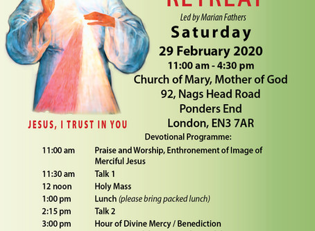 Divine Mercy Retreat -  29 February 2020